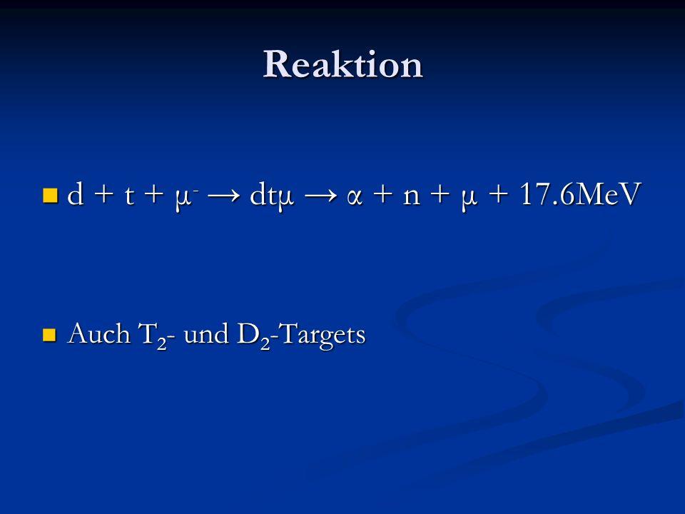 Reaktion d + t + μ- → dtμ → α + n + μ + 17.6MeV