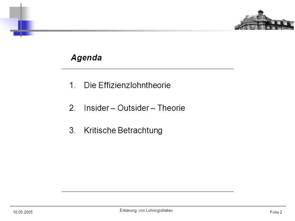 Agenda Die Effizienzlohntheorie Insider – Outsider – Theorie Kritische Betrachtung