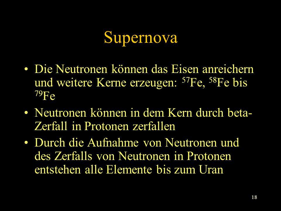 Supernova Die Neutronen können das Eisen anreichern und weitere Kerne erzeugen: 57Fe, 58Fe bis 79Fe.