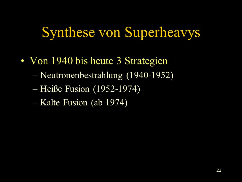 Synthese von Superheavys