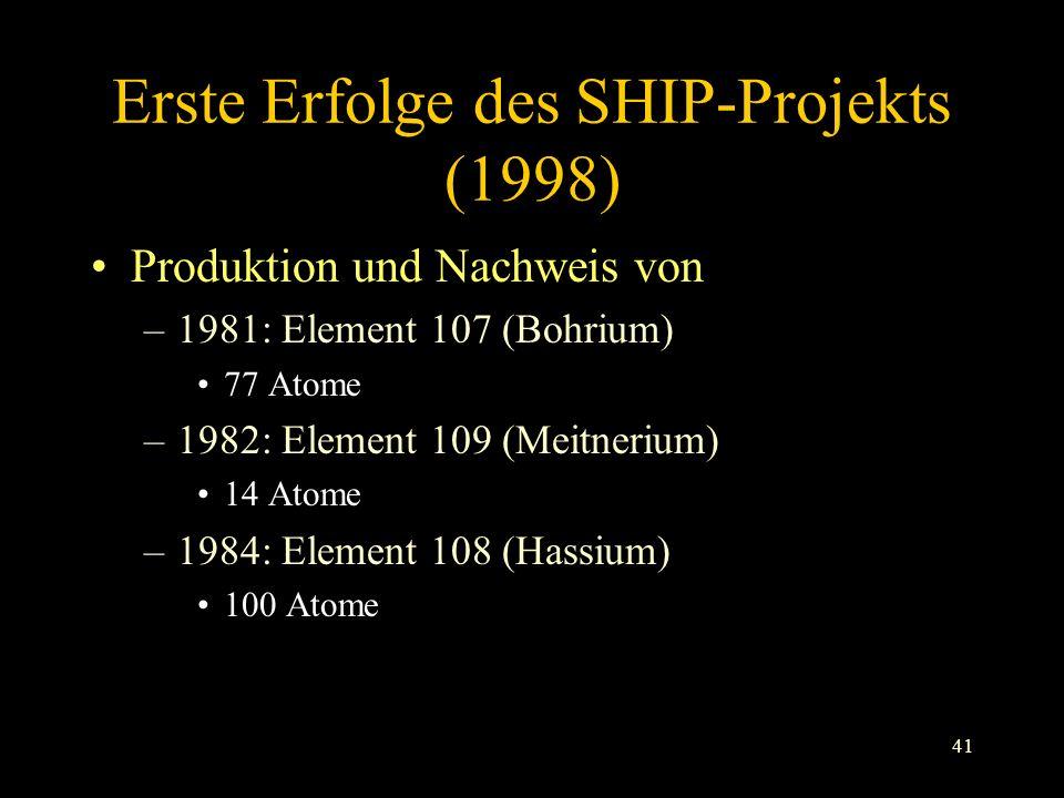 Erste Erfolge des SHIP-Projekts (1998)