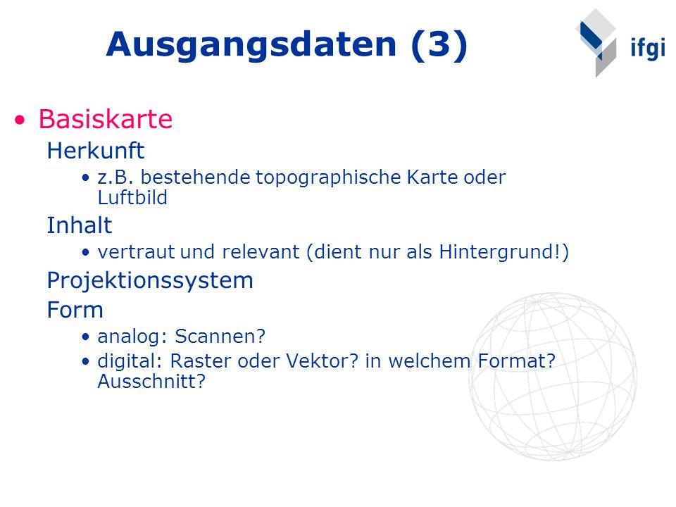 Ausgangsdaten (3) Basiskarte Herkunft Inhalt Projektionssystem Form