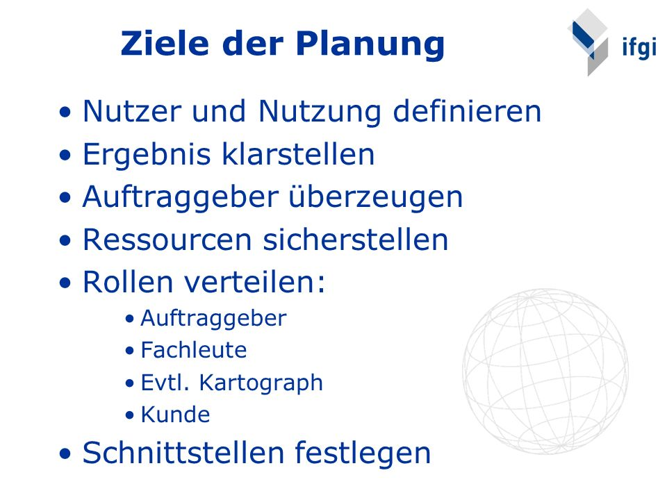 Ziele der Planung Nutzer und Nutzung definieren Ergebnis klarstellen