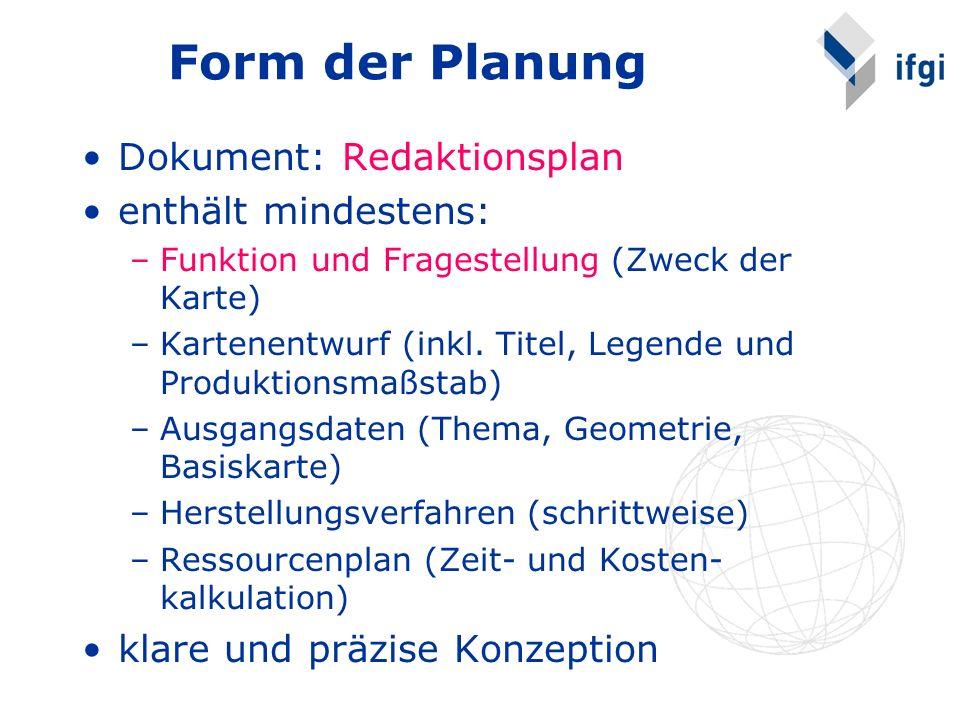 Form der Planung Dokument: Redaktionsplan enthält mindestens: