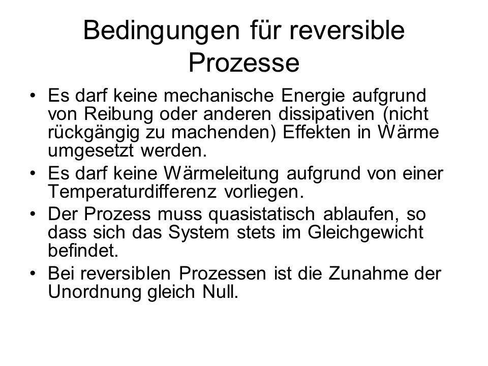 Bedingungen für reversible Prozesse