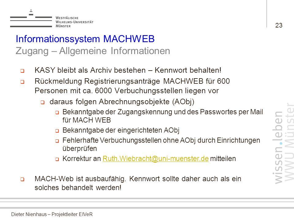 Informationssystem MACHWEB Zugang – Allgemeine Informationen