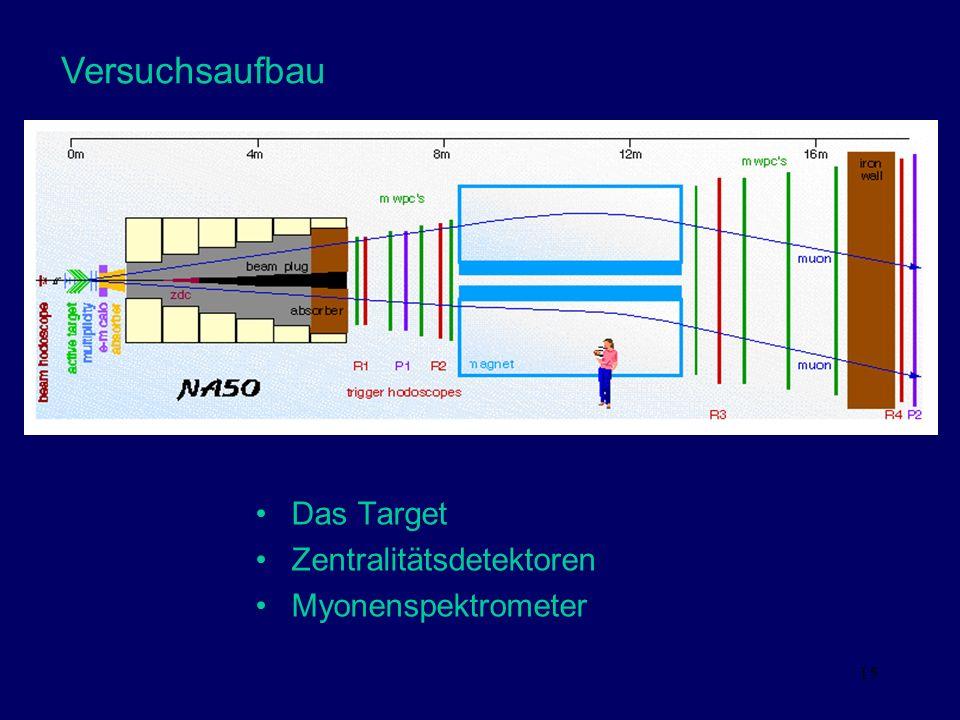 Versuchsaufbau Das Target Zentralitätsdetektoren Myonenspektrometer