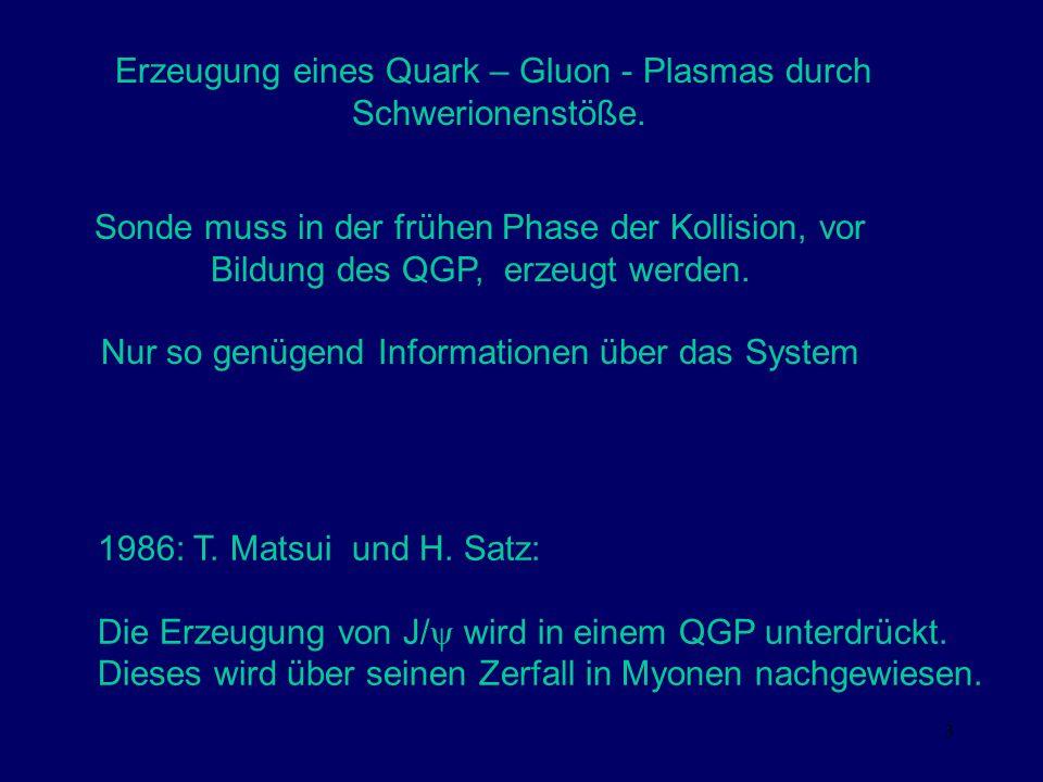 Erzeugung eines Quark – Gluon - Plasmas durch Schwerionenstöße.