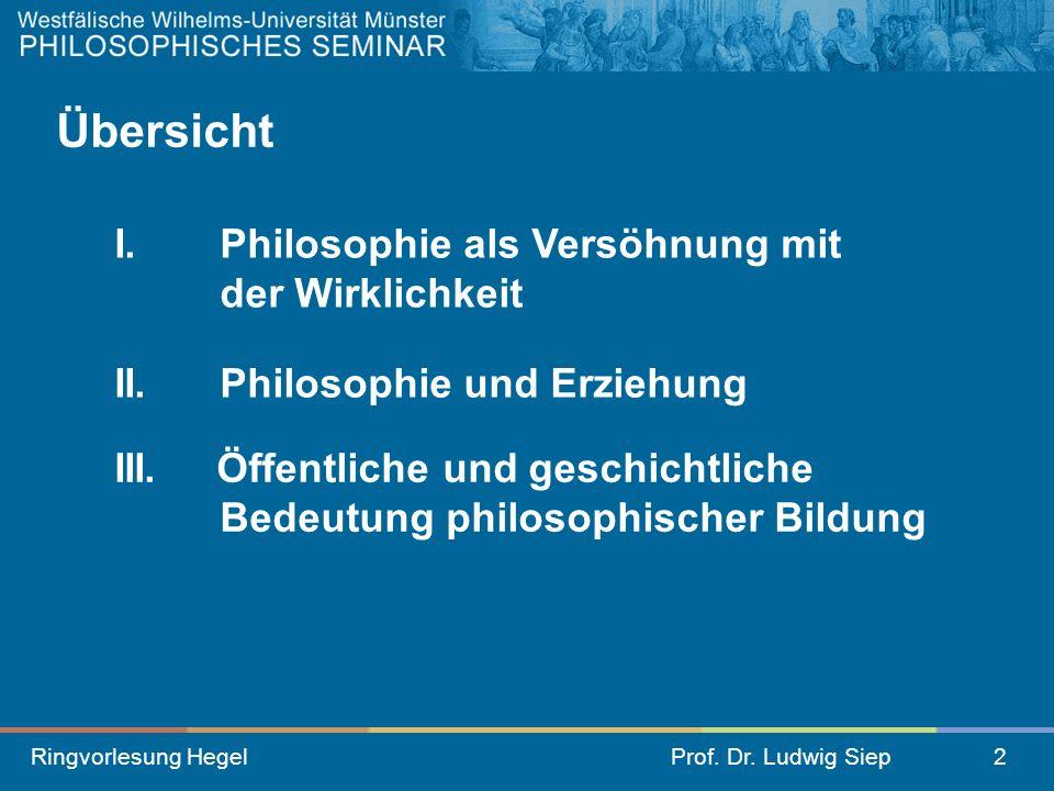 Übersicht I. Philosophie als Versöhnung mit der Wirklichkeit