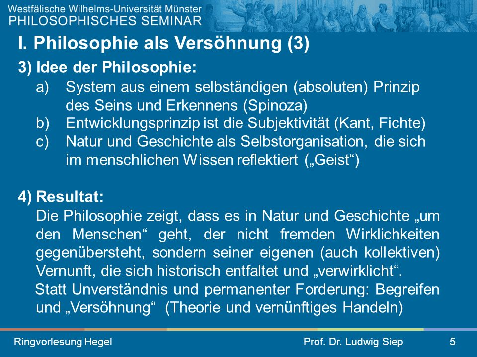 I. Philosophie als Versöhnung (3)