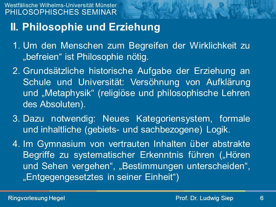 II. Philosophie und Erziehung