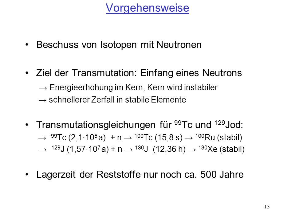 Vorgehensweise Beschuss von Isotopen mit Neutronen