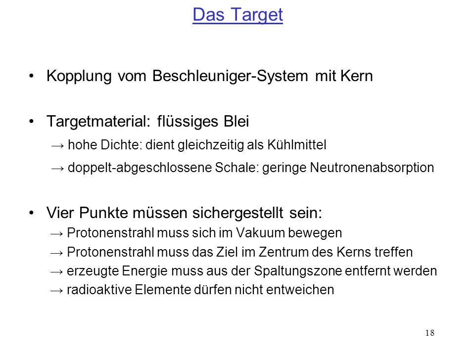 Das Target Kopplung vom Beschleuniger-System mit Kern