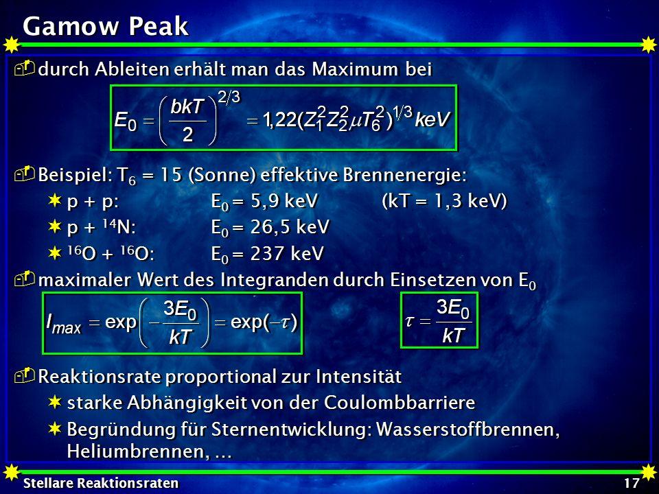 Gamow Peak durch Ableiten erhält man das Maximum bei