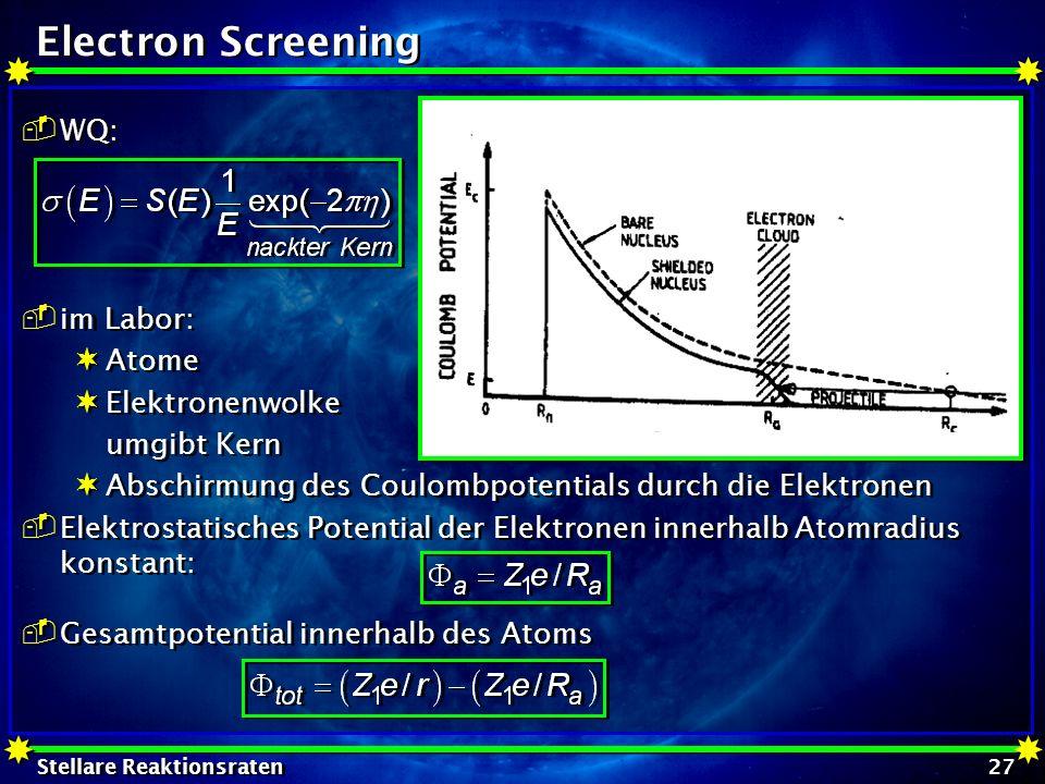 Electron Screening WQ: im Labor: Atome Elektronenwolke umgibt Kern