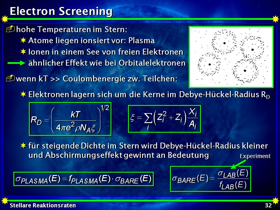 Electron Screening hohe Temperaturen im Stern: