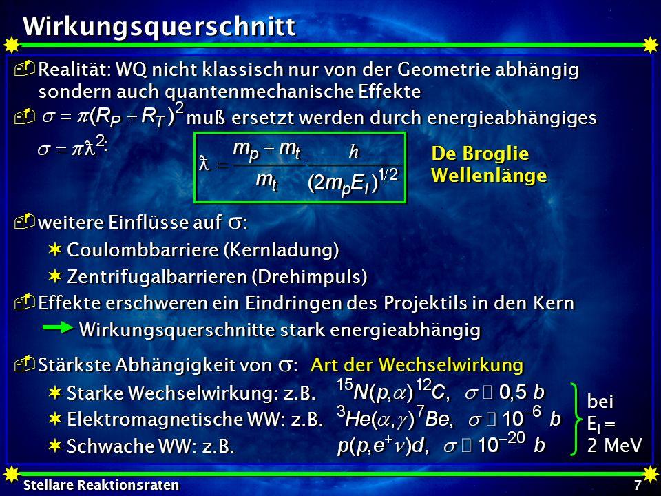 Wirkungsquerschnitt Realität: WQ nicht klassisch nur von der Geometrie abhängig sondern auch quantenmechanische Effekte.