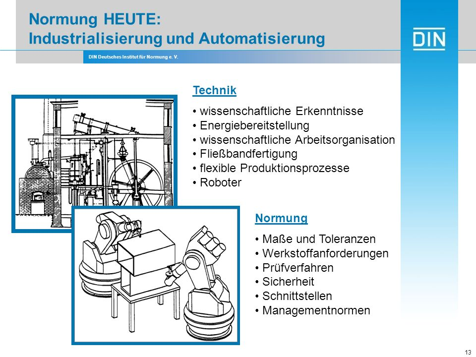 Normung HEUTE: Industrialisierung und Automatisierung