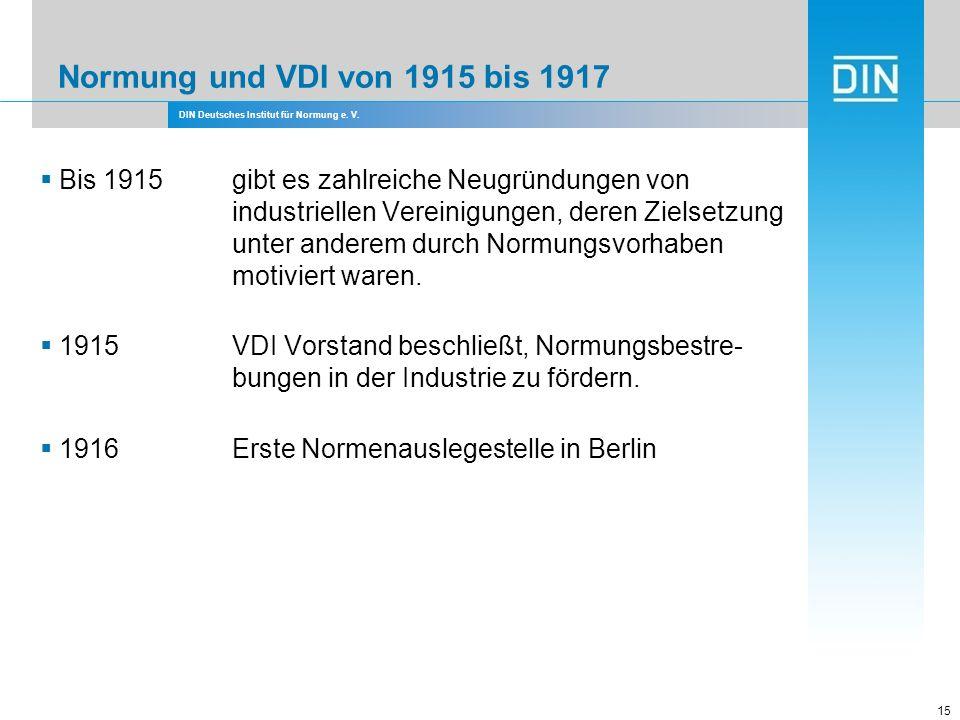 Normung und VDI von 1915 bis 1917