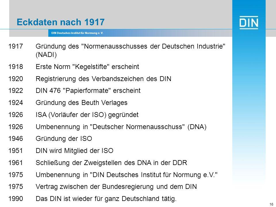 Eckdaten nach 1917 1917 Gründung des Normenausschusses der Deutschen Industrie (NADI) 1918 Erste Norm Kegelstifte erscheint.