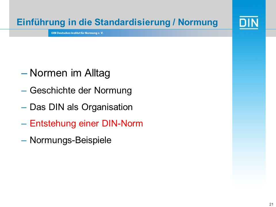 Einführung in die Standardisierung / Normung