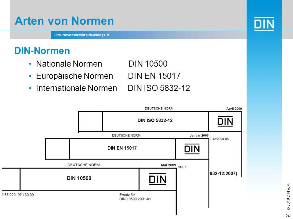Arten von Normen DIN-Normen Nationale Normen DIN 10500