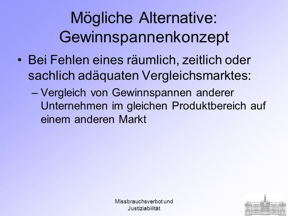 Mögliche Alternative: Gewinnspannenkonzept
