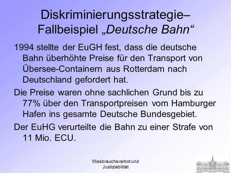 """Diskriminierungsstrategie– Fallbeispiel """"Deutsche Bahn"""