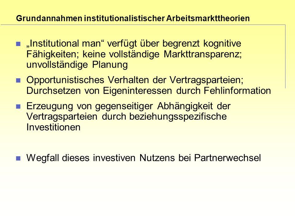 Grundannahmen institutionalistischer Arbeitsmarkttheorien