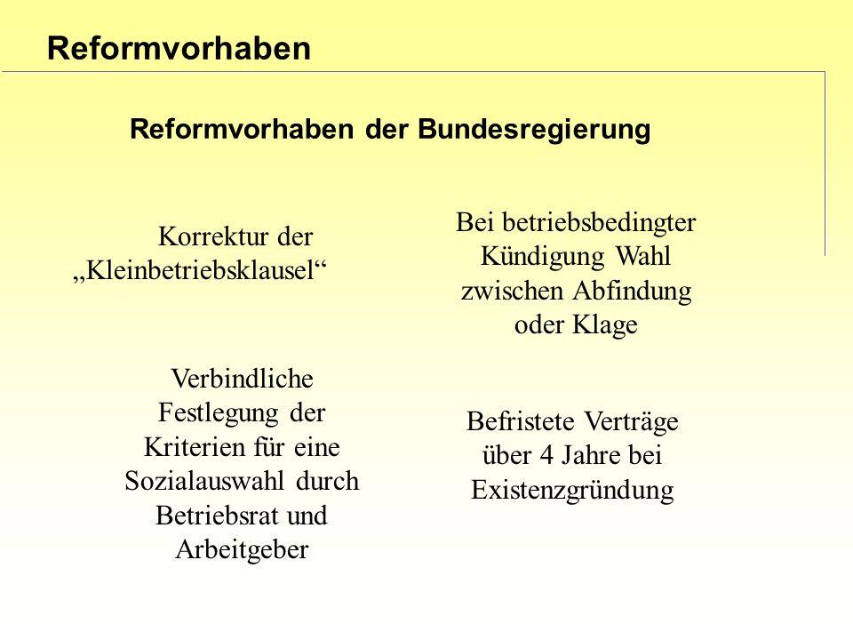 Reformvorhaben Reformvorhaben der Bundesregierung