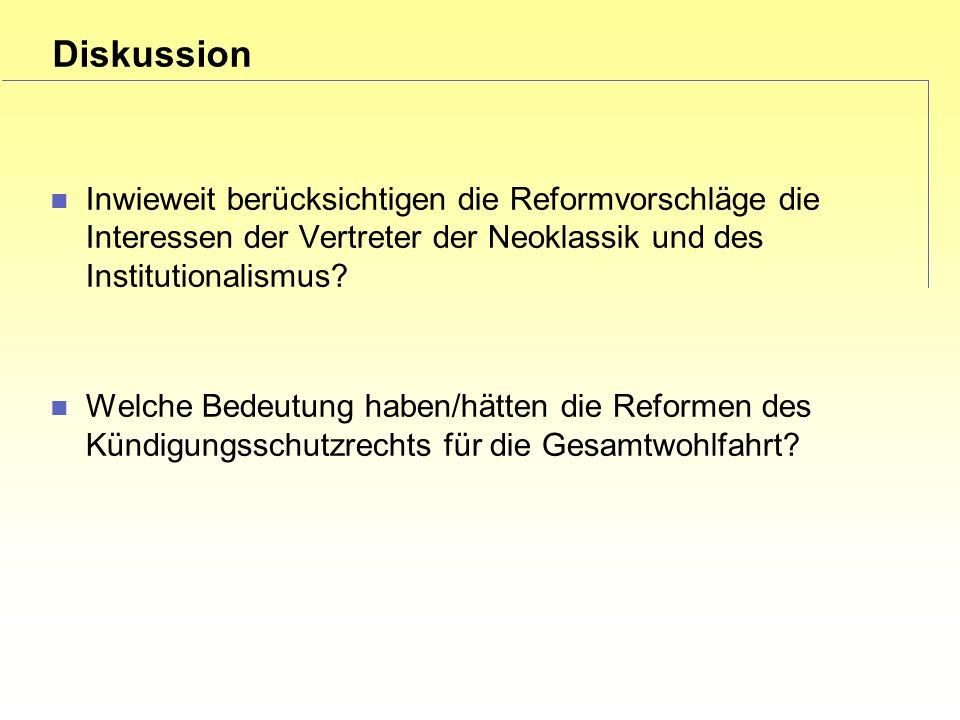 Diskussion Inwieweit berücksichtigen die Reformvorschläge die Interessen der Vertreter der Neoklassik und des Institutionalismus