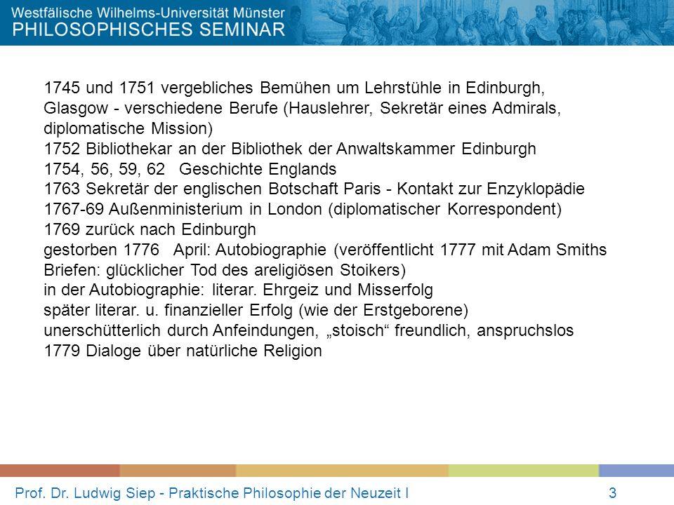 Prof. Dr. Ludwig Siep - Praktische Philosophie der Neuzeit I