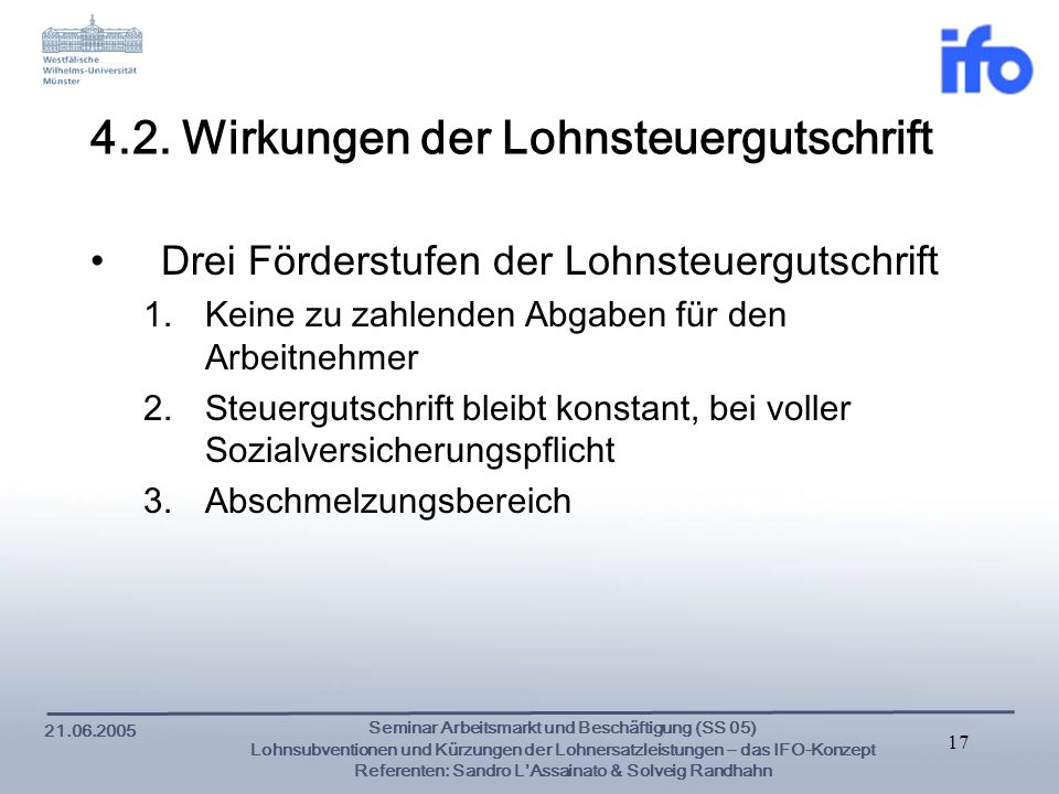 4.2. Wirkungen der Lohnsteuergutschrift