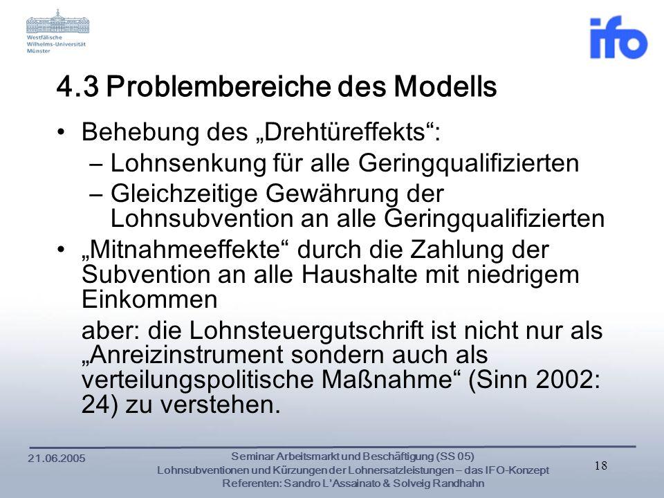4.3 Problembereiche des Modells