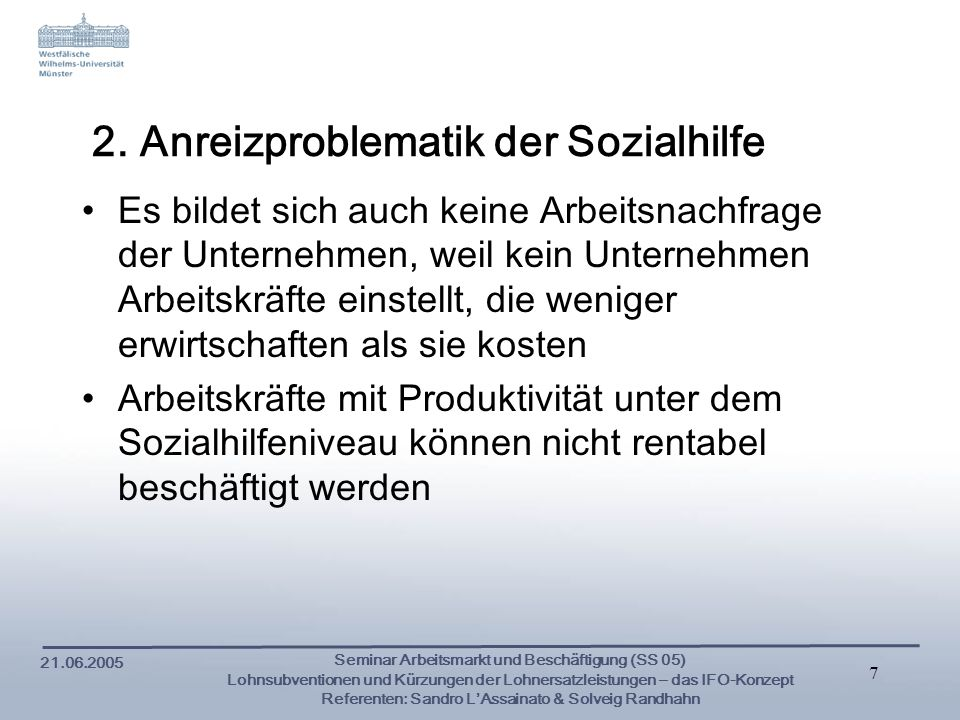 2. Anreizproblematik der Sozialhilfe