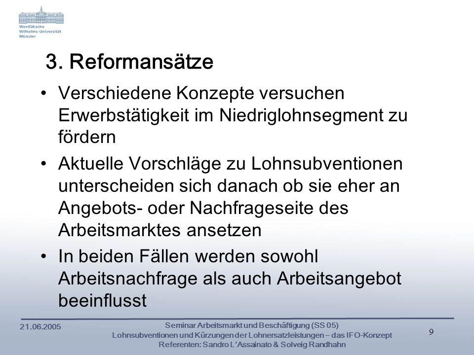 3. Reformansätze Verschiedene Konzepte versuchen Erwerbstätigkeit im Niedriglohnsegment zu fördern.