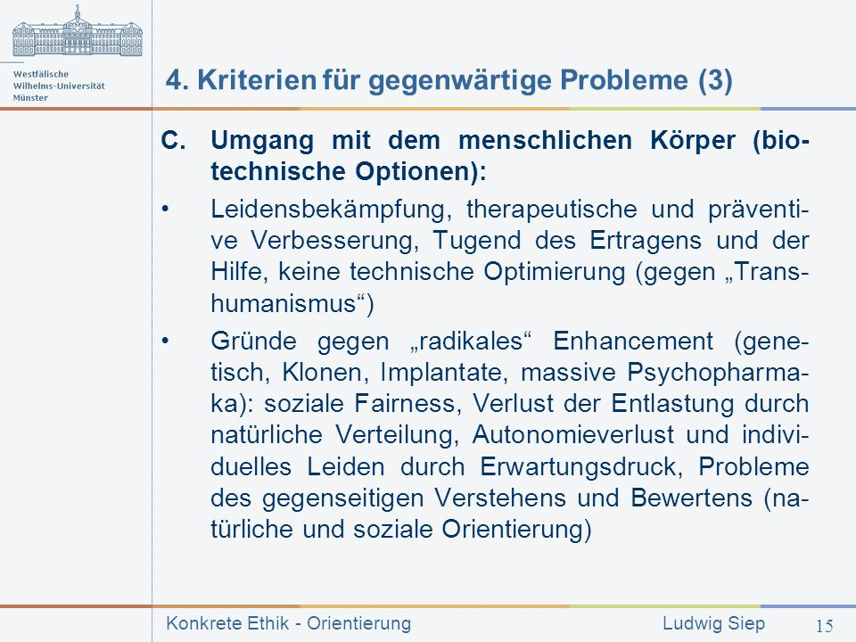 4. Kriterien für gegenwärtige Probleme (3)