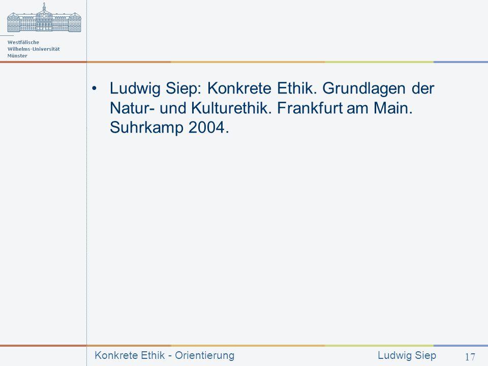 Ludwig Siep: Konkrete Ethik. Grundlagen der Natur- und Kulturethik