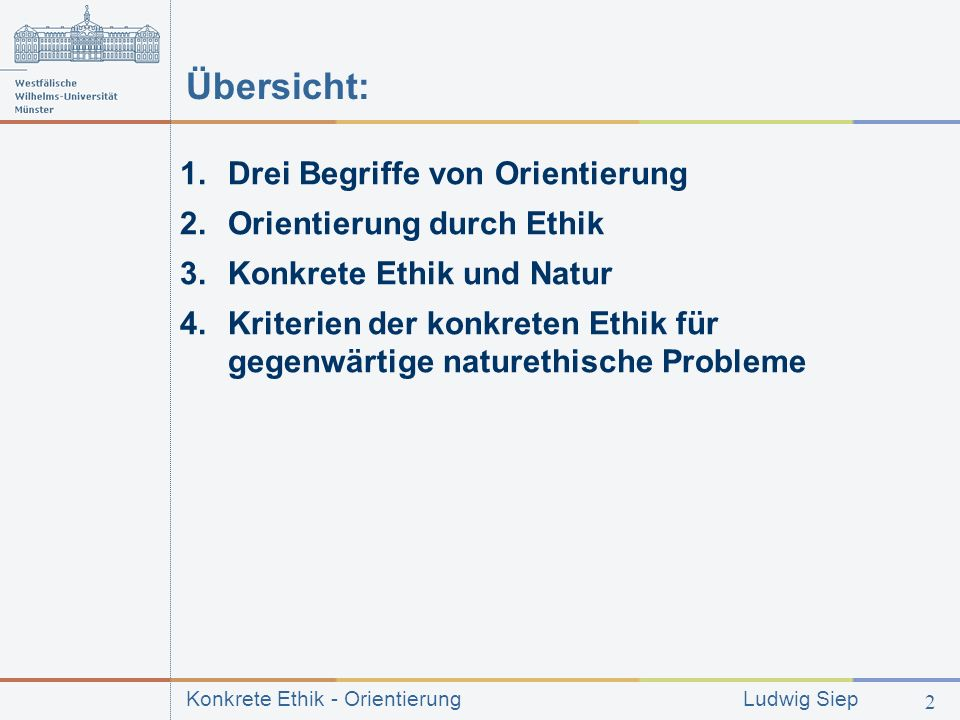 Übersicht: Drei Begriffe von Orientierung Orientierung durch Ethik