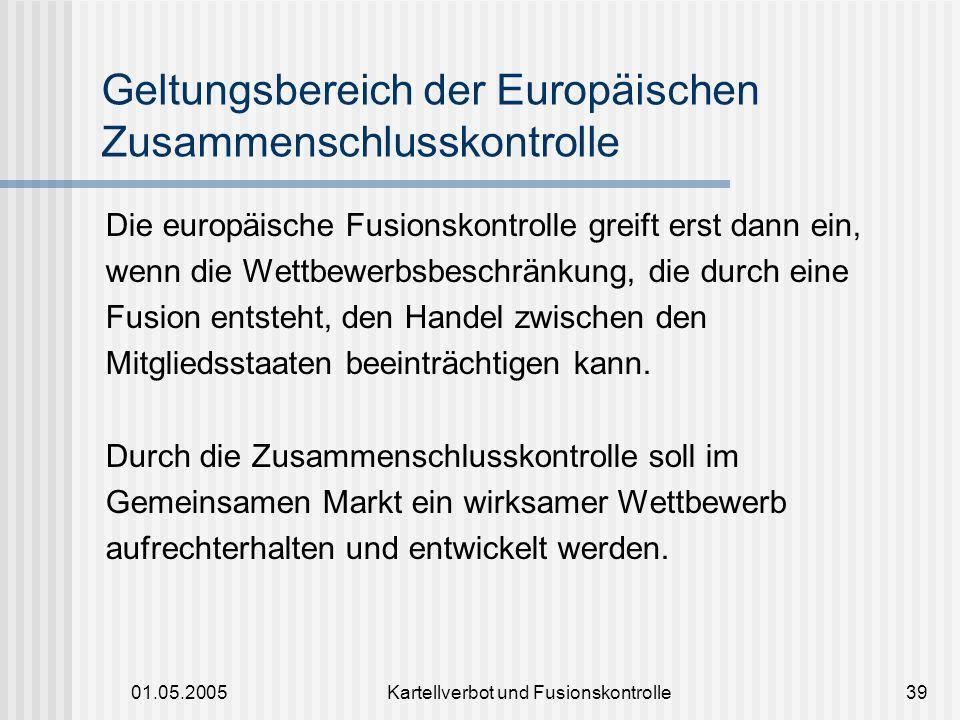 Geltungsbereich der Europäischen Zusammenschlusskontrolle