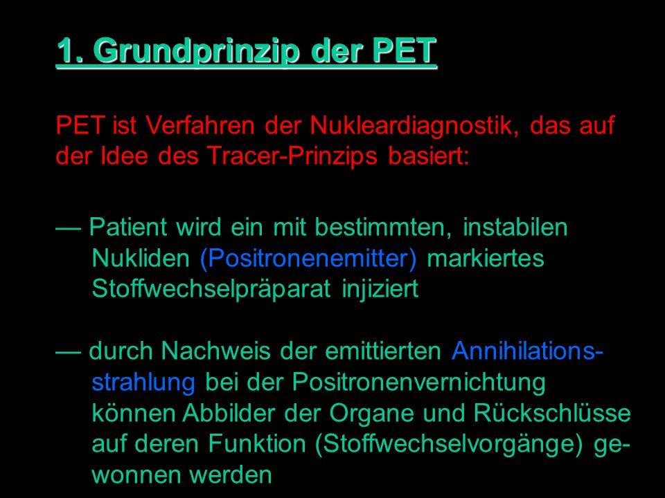 1. Grundprinzip der PET PET ist Verfahren der Nukleardiagnostik, das auf. der Idee des Tracer-Prinzips basiert: