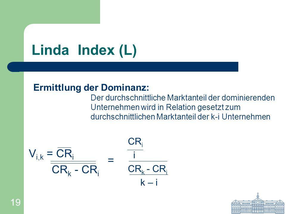 Linda Index (L) Vi,k = CRi CRk - CRi = Ermittlung der Dominanz: CRi i