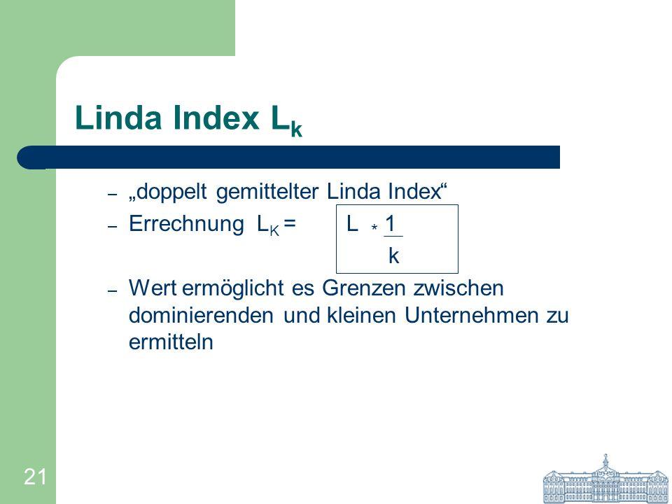 "Linda Index Lk ""doppelt gemittelter Linda Index Errechnung LK = L * 1"