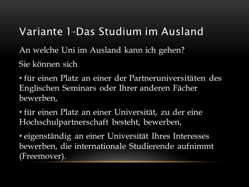Variante 1-Das Studium im Ausland