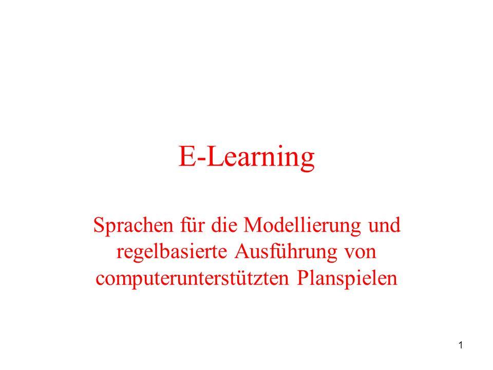 E-Learning Sprachen für die Modellierung und regelbasierte Ausführung von computerunterstützten Planspielen.