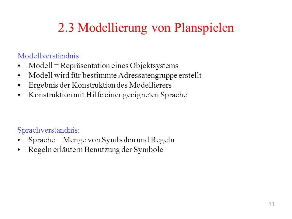 2.3 Modellierung von Planspielen
