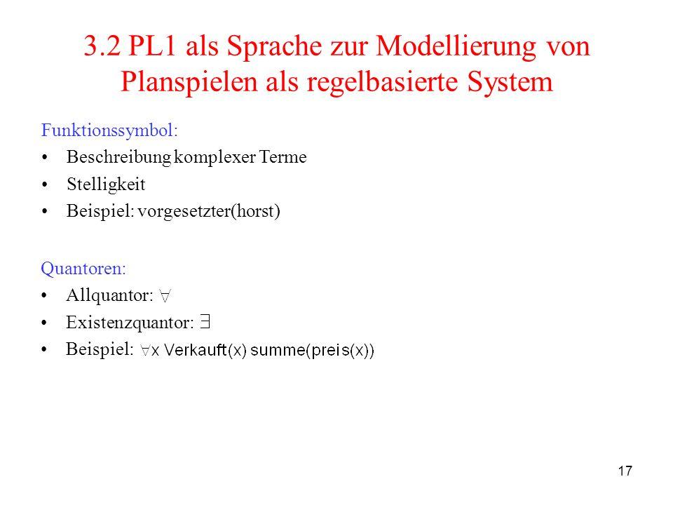 3.2 PL1 als Sprache zur Modellierung von Planspielen als regelbasierte System