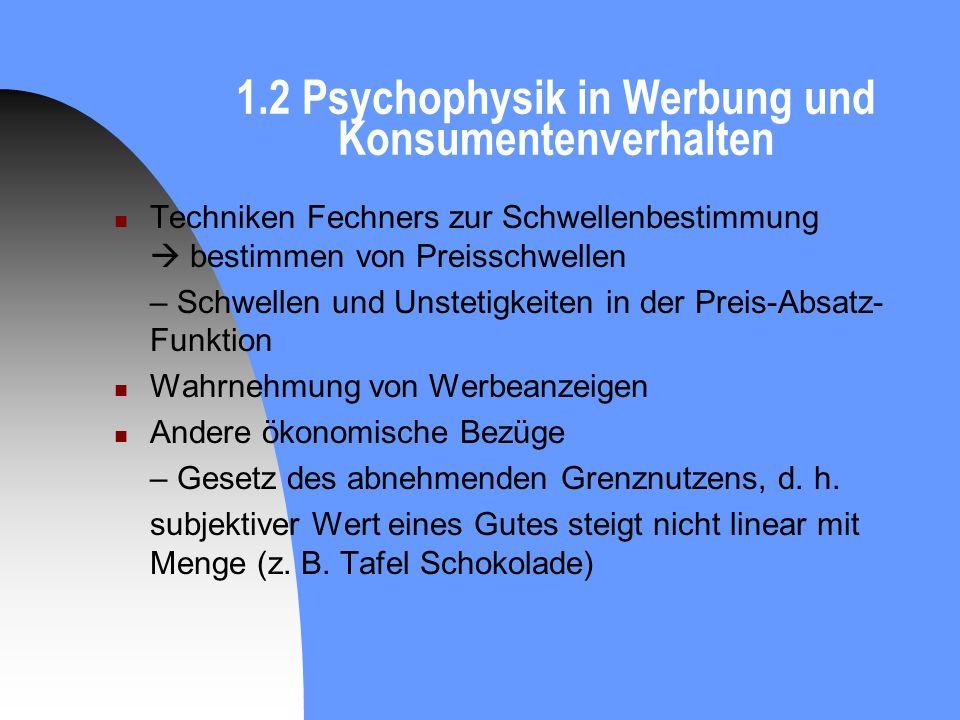 1.2 Psychophysik in Werbung und Konsumentenverhalten
