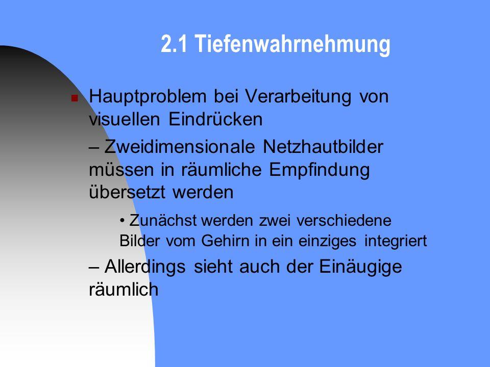 2.1 Tiefenwahrnehmung Hauptproblem bei Verarbeitung von visuellen Eindrücken.