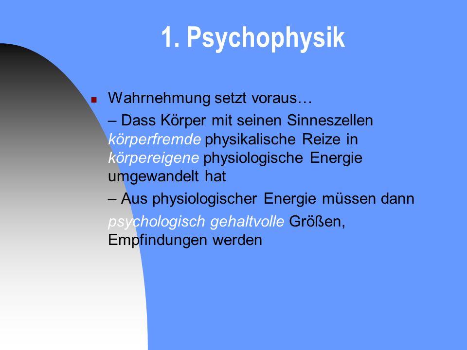 1. Psychophysik Wahrnehmung setzt voraus…